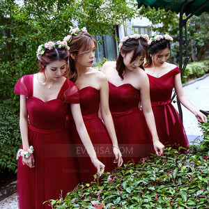Burgundy Sweetheart Sleeveless Tulle A Line Bridesmaid Dresses - EVERISA