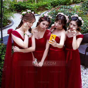 Burgundy Sweetheart Sleeveless Tulle A Line Bridesmaid Dresses