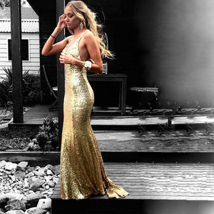 Gold Sleeveless Backless Sequin Prom Dresses Mermaid Evening Dresses - EVERISA