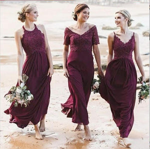 Fashion V Neck Sleeveless A Line Chiffon Bridesmaid Dresses With Lace - EVERISA