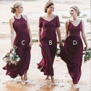 Fashion V Neck Sleeveless A Line Chiffon Bridesmaid Dresses With Lace
