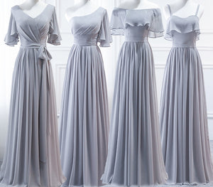 Grey Halter A Line Ruffles Chiffon Bridesmaid Dresses,Long Prom Dresses - EVERISA