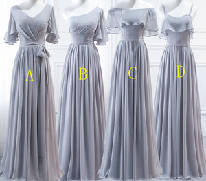 Grey Halter A Line Ruffles Chiffon Bridesmaid Dresses,Long Prom Dresses