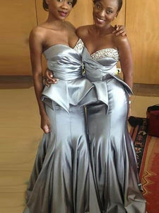 Sexy Silver Sweetheart Mermaid Bridesmaid Dresses Beaded Prom Dresses - EVERISA