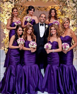 Purple Sweetheart Sleeveless Satin Long Mermaid Bridesmaid Dresses