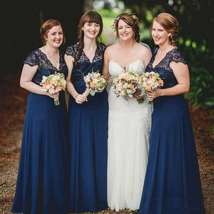 Navy Blue V Neck Cap Sleeves Satin Bridesmaid Dresses With Lace