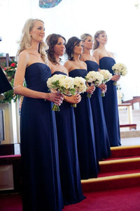 Navy Blue Strapless Sleeveless Empire Chiffon Long Bridesmaid Dresses