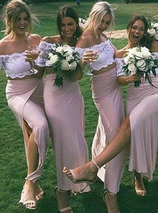 Blush Pink Two Pieces Off Shoulder Side Slit Lace Bridesmaid Dresses