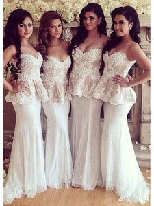 Sweetheart Lace Applique Bridesmaid Dresses,Mermaid Prom Dresses
