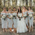 Elegant Off Shoulder Sleeveless Plus Size Tea-Length Bridesmaid Dresses - EVERISA