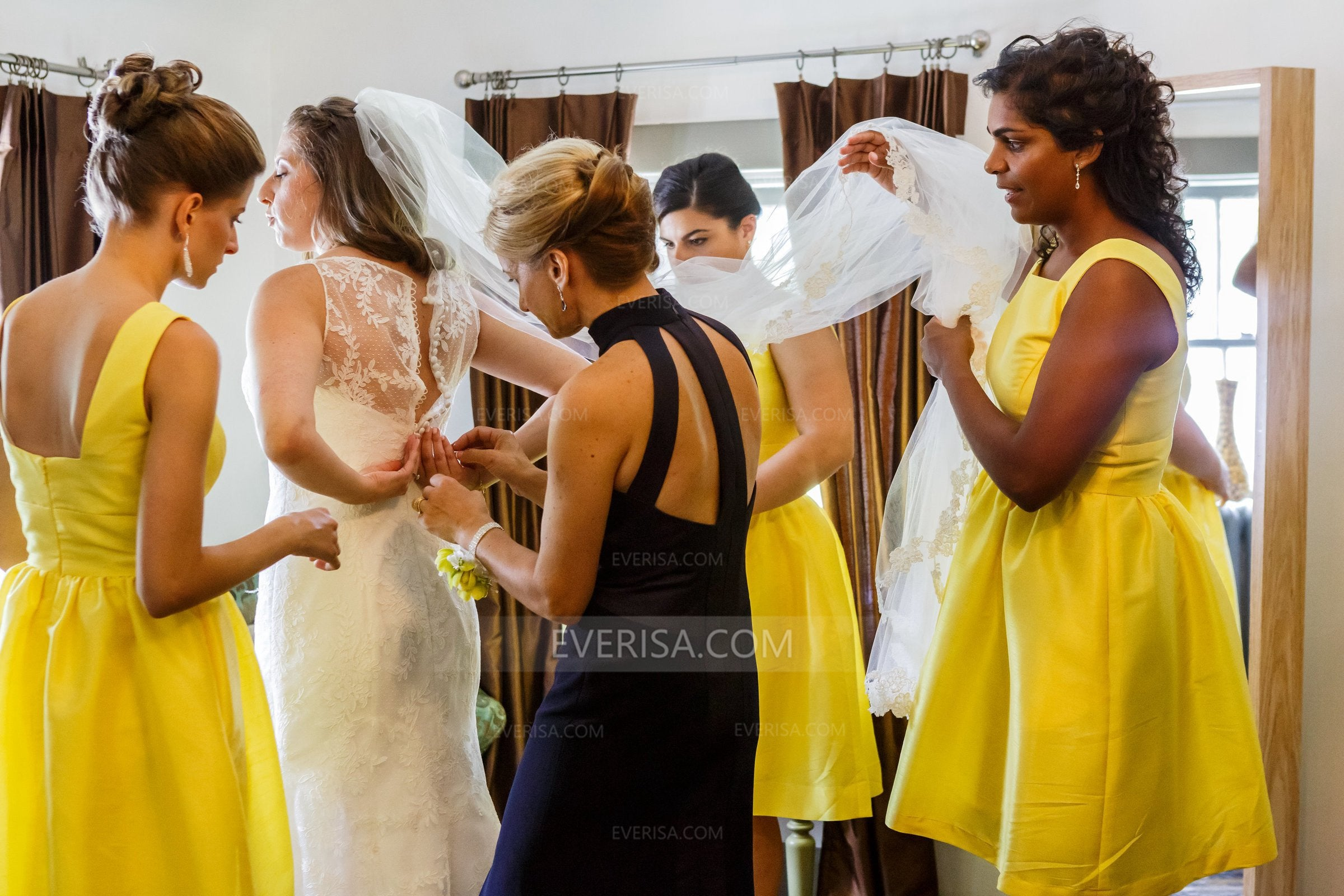 quite nice low priced outlet on sale Yellow Sleeveless A Line Knee-Length Satin Bridesmaid Dresses