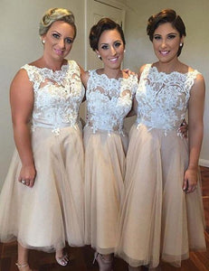 Blush Pink Sleeveless Lace A Line Tea-Length Tulle Bridesmaid Dresses - EVERISA