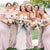 Elegant Pink Off Shoulder Sleeveless Satin Long Bridesmaid Dresses - EVERISA