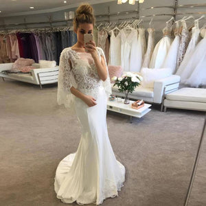 Lace Appliques Scoop Neck Wedding Dresses Mermaid Bridal Dresses - EVERISA