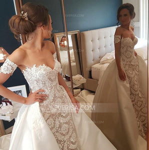 Elegant Sweetheart Lace Wedding Dresses Satin Skirt Bridal Dresses