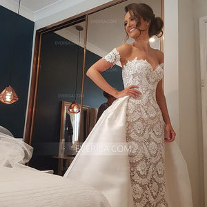 Elegant Sweetheart Lace Wedding Dresses Satin Skirt Bridal Dresses - EVERISA