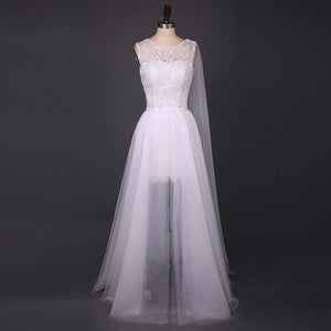 White Sleeveless See Through Wedding Dresses A Line Tulle Bridal Gown