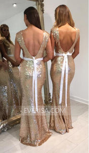 Elegant Gold  Slim-line Backless Sequin Prom Dress Cheap Prom Dresses