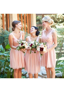 Unique Pink V Neck Knee-Length Chiffon Prom Dresses Affordable Bridesmaid Dresses