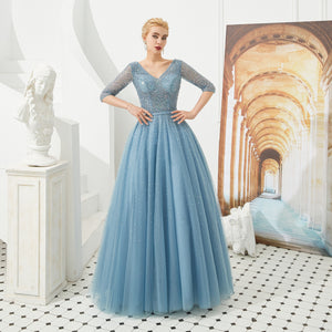 Blue V Neck Half Sleeve Beaded Prom Dresses A Line Evening Dresses