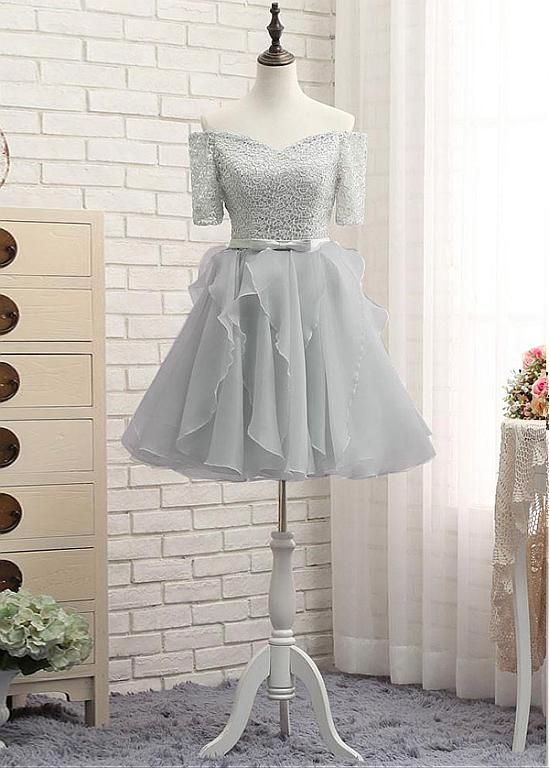 4e9ddf09bce8 Silver Off Shoulder Lace A Line Prom Dresses Short Homecoming Dresses -  EVERISA