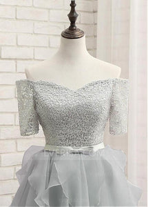 Silver Off Shoulder Lace A Line Prom Dresses Short Homecoming Dresses - EVERISA