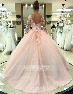 Blush Long Sleeves Backless A Line Prom Dresses Lace Sweet 16 Dresses - EVERISA