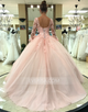 Blush Long Sleeves Backless A Line Prom Dresses Lace Sweet 16 Dresses