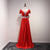 Burgundy Short Sleeves A Line Satin Prom Dresses Beaded Formal Dresses - EVERISA