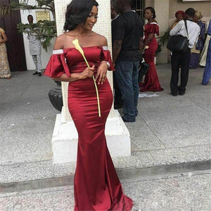 Burgundy Off Shoulder Strapless Mermaid Long Satin Bridesmaid Dresses