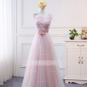 Pink Sleeveless Lace Appliques Empire A Line Tulle Bridesmaid Dresses