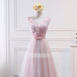 Pink Sleeveless Lace Appliques Empire A Line Tulle Bridesmaid Dresses - EVERISA