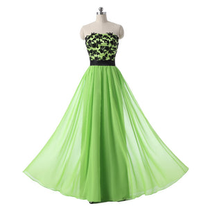 Green Strapless Lace Applique Prom Dresses,A Line Formal Dresses - EVERISA