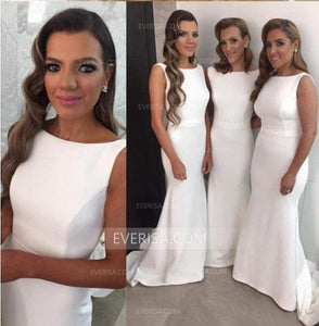Elegant White Scoop Neck Sleeveless Satin Bridesmaid Dresses Affordable Evening Dress