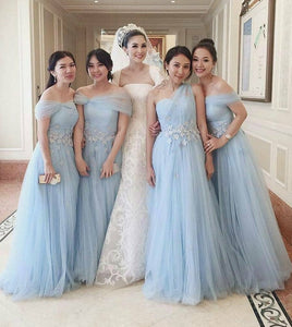 Blue Sweetheart Sleeveless Lace Applique A Line Bridesmaid Dresses