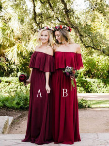 Burgundy Off Shoulder A Line Chiffon Long Bridesmaid Dresses - EVERISA