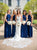 Royal Blue Sleeveless Halter Pleated Chiffon Long Bridesmaid Dresses