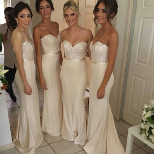 Charming Ivory Sweetheart Sleeveless Satin Bridesmaid Dress Prom Dress With beads