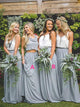 Grey Two Pieces Sleeveless Ruffles Chiffon Long Bridesmaid Dresses