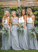 Grey Two Pieces Sleeveless Ruffles Chiffon Long Bridesmaid Dresses - EVERISA