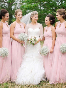 Pink Sleeveless Halter Empire A Line Chiffon Long Bridesmaid Dresses