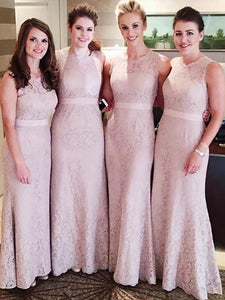 Blush Pink Scoop Neck Sleeveless Lace Long Bridesmaid Dresses