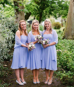 Lavender Strapless Short Chiffon Bridesmaid Dresses With Shawl - EVERISA