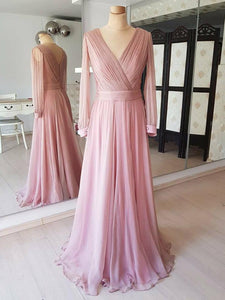 Dusty Rose V Neck Long Sleeves Prom Dresses A Line Formal Dresses - EVERISA