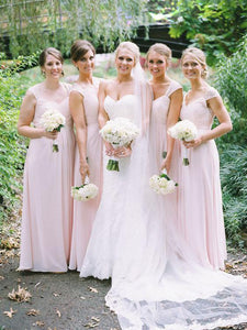 Blush Pink Sweetheart Sleeveless A Line Chiffon Bridesmaid Dresses - EVERISA