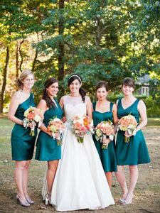Dark Green Sleeveless Knee Length Satin Bridesmaid Dresses