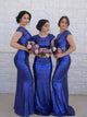 Royal Blue Scoop Neck Cap Sleeves Sequin Long Bridesmaid Dresses