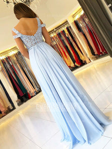 Off Shoulder Lace Applique Prom Dresses Side Slit Chiffon Formal Dress
