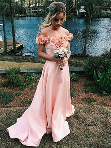 Blush Pink Off Shoulder Bridesmaid A Line Satin Prom Dresses - EVERISA