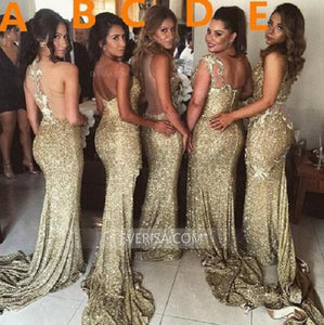 Sexy Gold Empire Side Split Sequin Bridesmaid Dresses Long Evening Dress - EVERISA